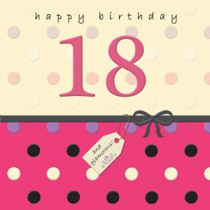 Age 18 Happy Birthday Card With Swarovski Crystal - Dotty Days TW691